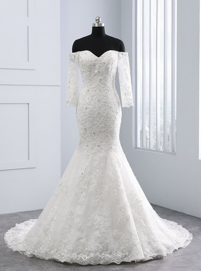 Mermaid Wedding Dresses with Sleeves,Off the Shoulder Bridal Dress,11705