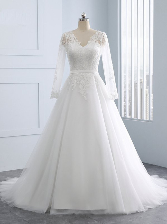 A-line Wedding Dress with Sleeves,Elegant Tulle Wedding Dress,11707