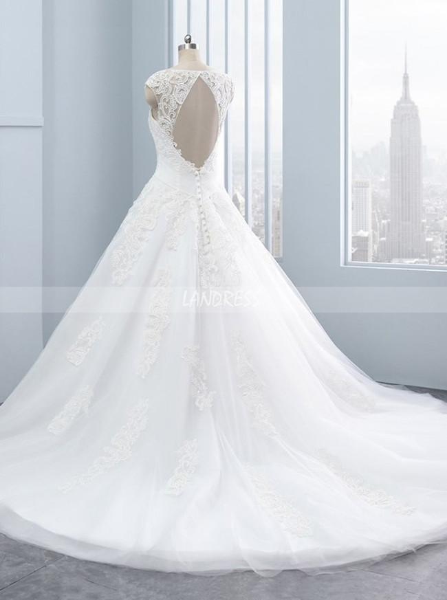 Elegant A-line Wedding Dresses,Cutout Wedding Dress,11708
