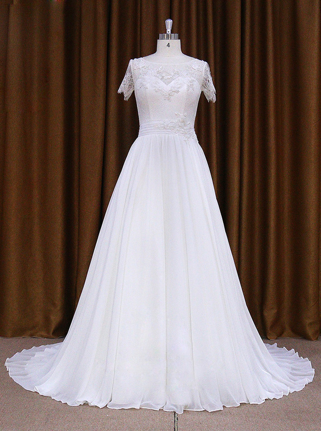 Chiffon Wedding Dress with Short Sleeves,Beach Wedding Dress,11709