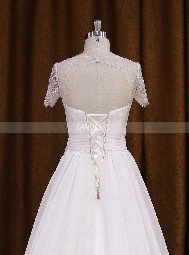 Chiffon Wedding Dress With Short Sleevesbeach Wedding Dress11709