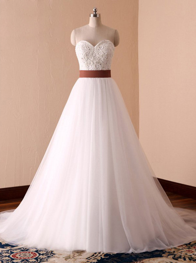 Sweetheart Wedding Dresses with Belt,Tulle Bridal Dress,11711
