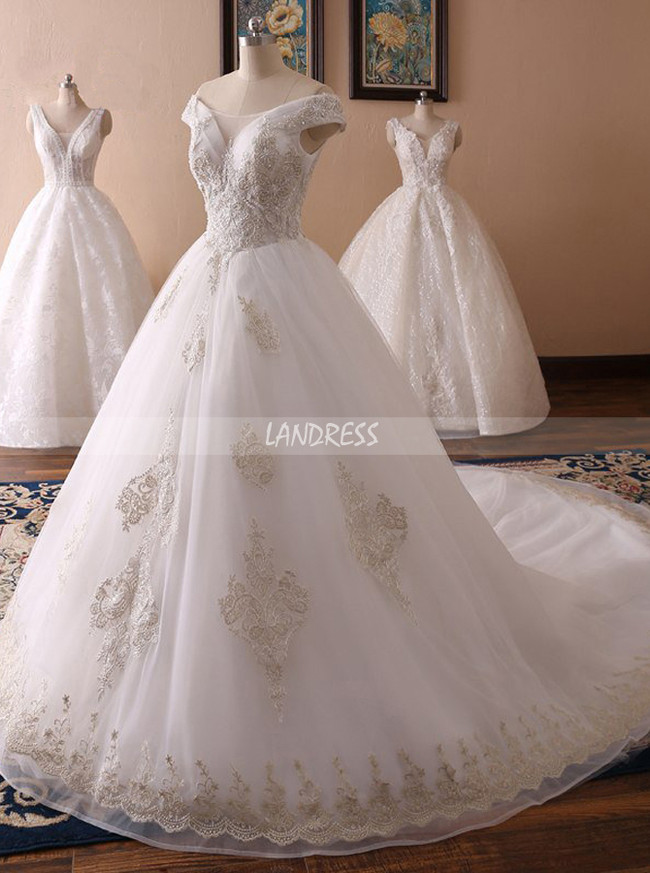 Princess Wedding Dresses,Off the Shoulder Wedding Dress,11712