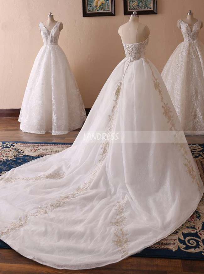 Sweetheart Ball Gown Wedding Dress,Lace Bridal Gown,11714