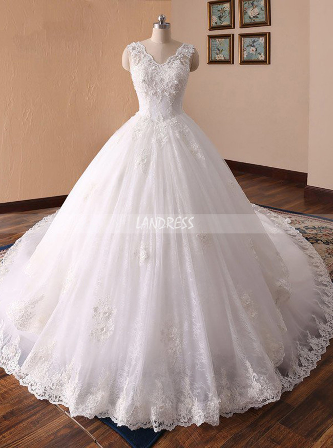 Classic Ball Gown Wedding Dresses,Long Train Bridal Gown,11715