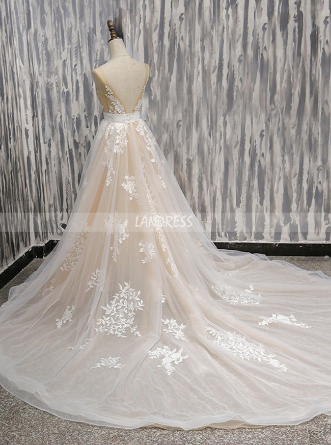 Champagne A-line Wedding Dresses,Tulle Wedding Dress,11717