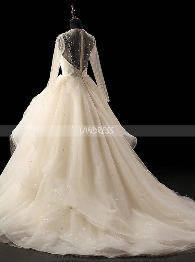 Ivory Ball Gown Wedding Dress with Sleeves,Ruffled Wedding Gown,11718