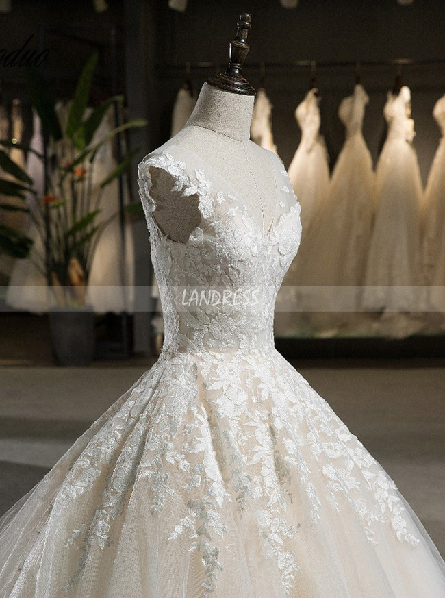 Champagne Ball Gown Wedding Dresses,Long Train Wedding Gown,11719