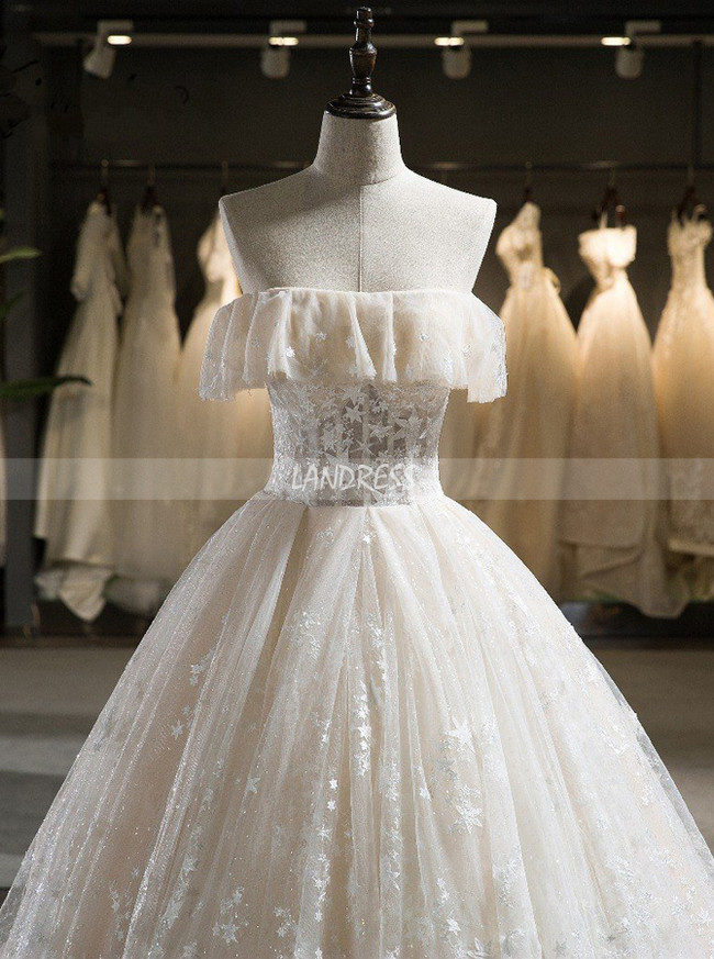Champagne Strapless Wedding Gown,Lace Ball Gown Wedding Dress,11720