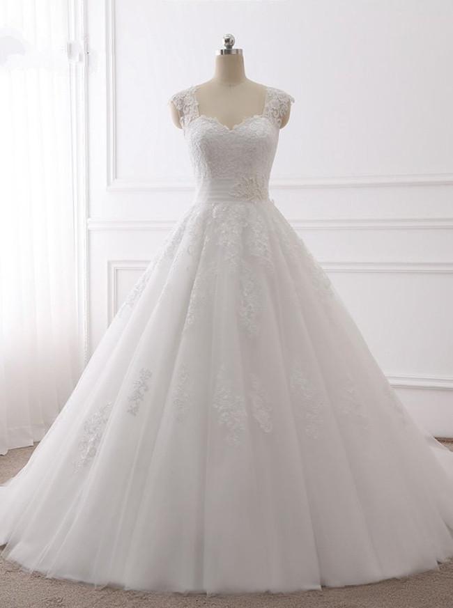 A-line Elegant Wedding Dresses,Classic Bridal Dress with Train,11724