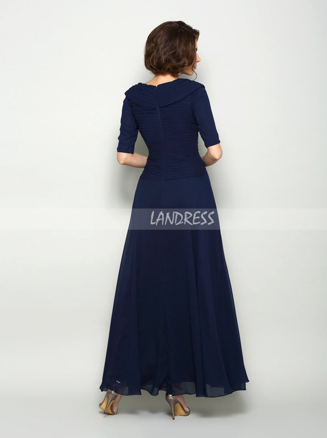 Dark Navy Mother of the Bride Dress with Sleeves,Ankle Length Chiffon Mother Dress,11728