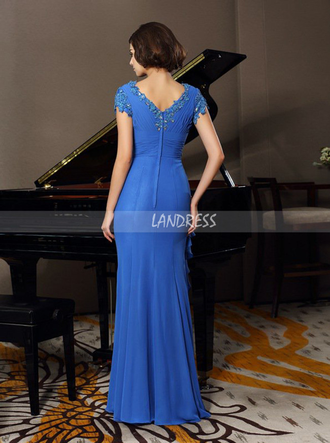 Blue Mermaid Mother of the Bride Dress with Short Sleeves,Chiffon Mother Dress,11729