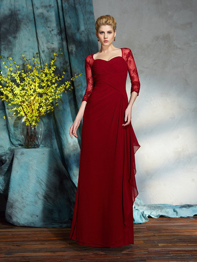 Red Mother of the Bride Dress with Sleeves,Sweetheart Mother Dresses,11731