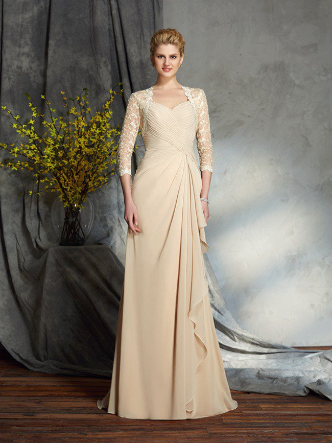 Champagne Mother of the Bride Dresses with Sleeves,Long Chiffon Mother Dress,11736