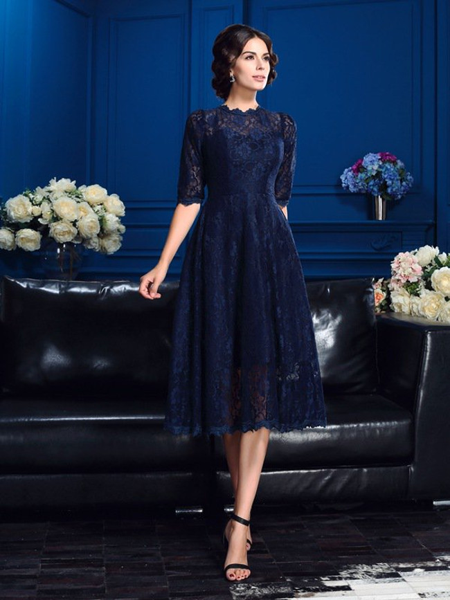 Dark Navy Lace Mother of the Bride Dresses,Tea Length Mother Dress,11737