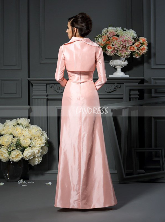Pink Mother of the Bride Dress with Jacket,Taffeta Fall Mother Dresses,11746