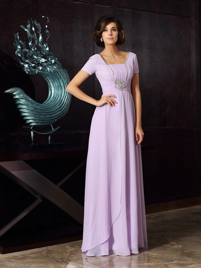 Lilac Mother of the Bride Dresses with Short Sleeves,Modest Mother Dress,11749