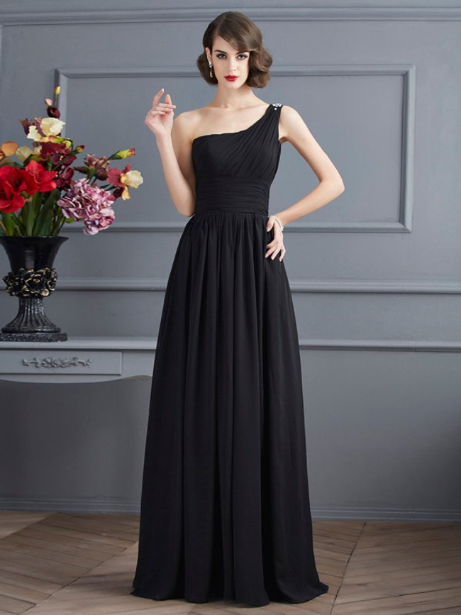 One Shoulder Mother of the Bride Dresses,Black Chiffon Mother Dress,11750