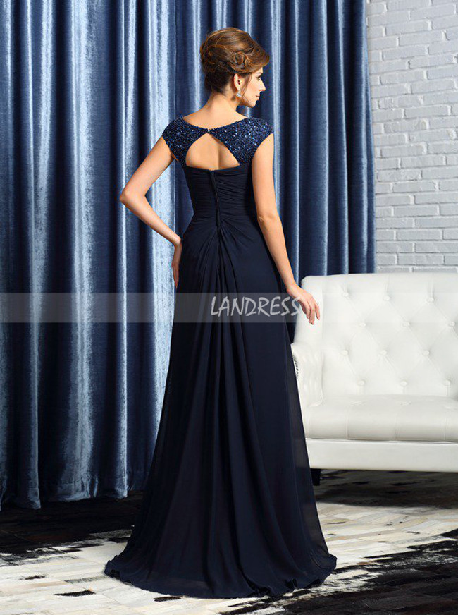 Dark Navy Mother of the Bride Dresses,Long Modest Mother Dress,11756