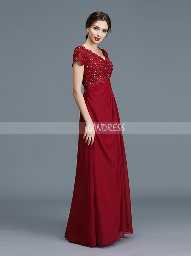 Lace Chiffon Mother of the Bride Dress with Sleeves,Simple Mother Dress,11762