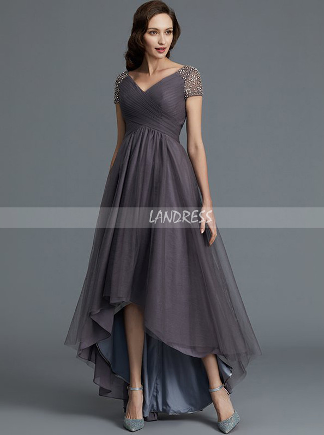 Grey High Low Mother of the Bride Dresses,Tulle Mother Dress,11764