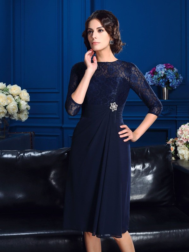Dark Navy Mother of the Bride Dress,Short Mother Dress with Sleeves,11770