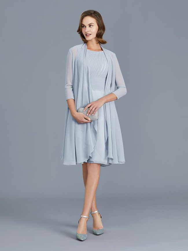 Light SkyBlue Mother of the Bride Dresses,Knee Length Mother Dresses,11774