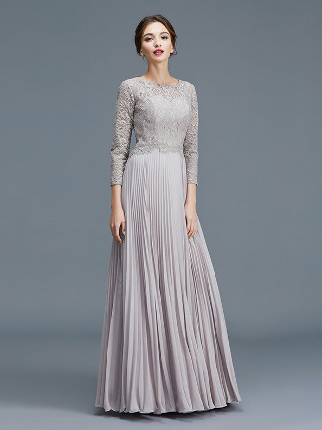 Long Mother of the Bride Dresses with Sleeves,Silver Mother Dress,11775