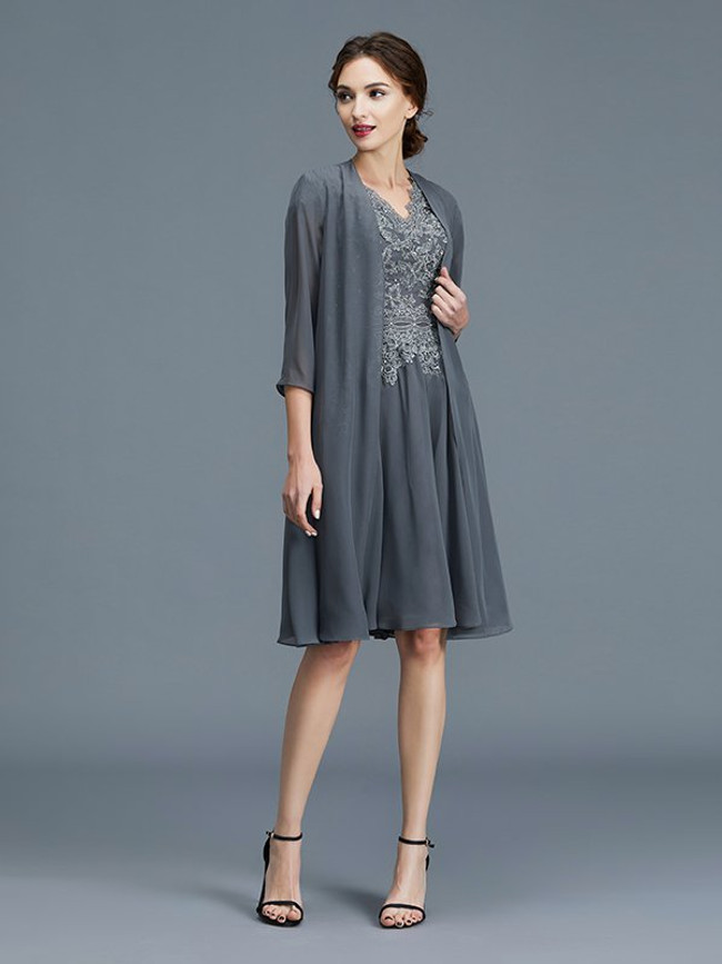 Grey Mother of the Bride Dress with Jacket,Short Mother Dress,11776