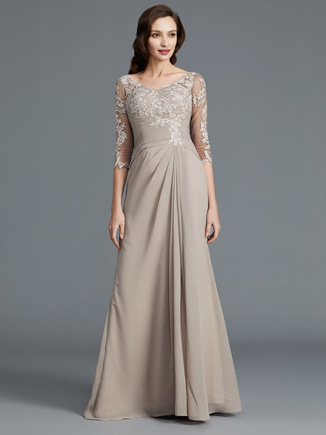 Khaki Long Mother of the Bride Dresses,Mother Dress with Sleeves,11777