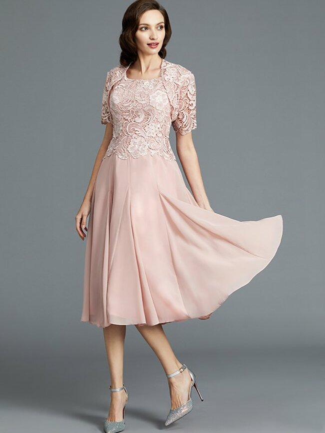 Tea Length Mother of the Bride Dress with Jacket,Pink Mother Dress,11780