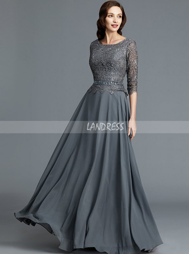 Grey Long Mother of the Bride Dresses,Elegant Mother Dress with Sleeves,11781
