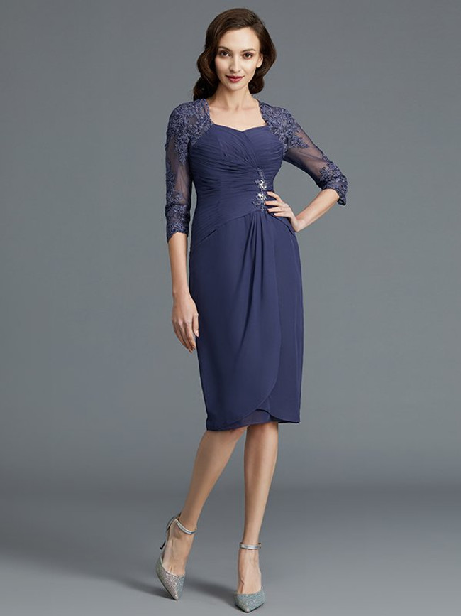 Sheath Mother of the Bride Dresses,Knee Length Mother Dress with Sleeves,11782