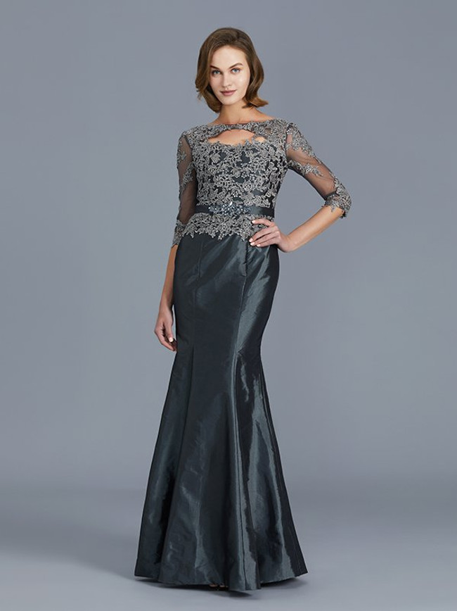 Grey Mermaid Mother of the Bride Dress,Fitted Mother Dresses,11785