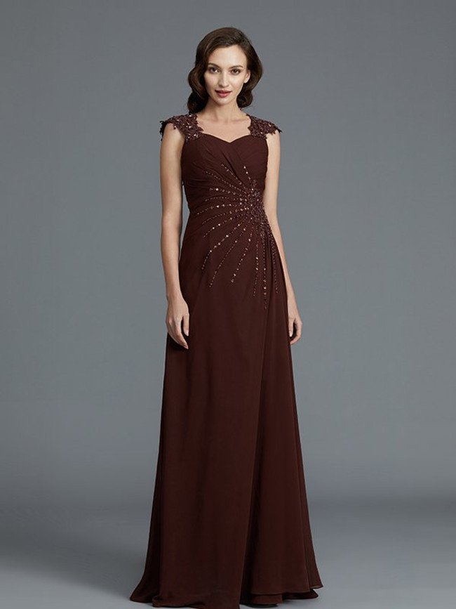 Chocolate Mother of the Bride Dresses,Beaded Mother Dresses,11786