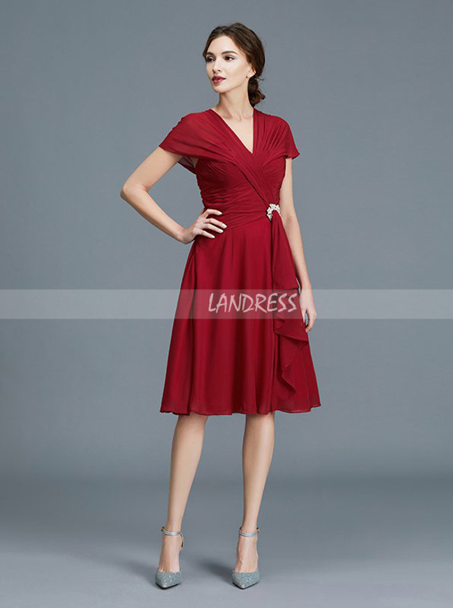 Dark Red Mother of the Bride Dresses,Knee Length Mother Dress,11789