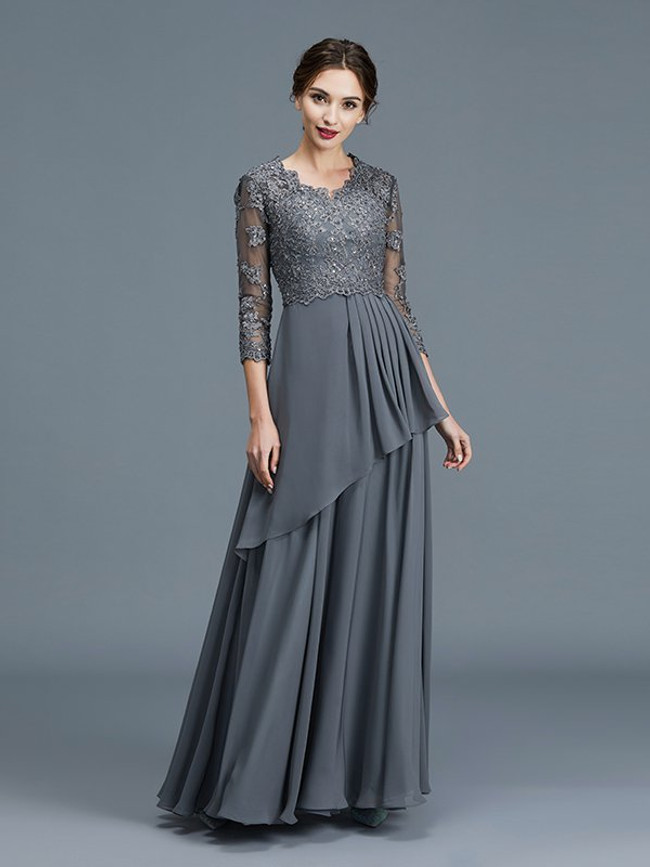 Grey Long Mother of the Bride Dresses,Mother Dress with Sleeves,11790