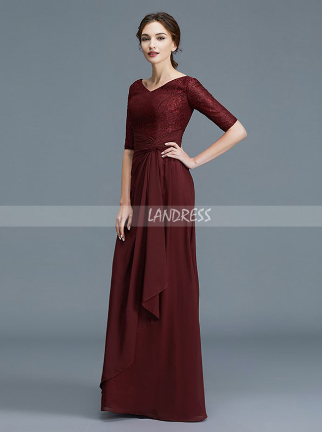 Burgundy Mother of the Bride Dress with Sleeves,Chiffon Elegant Mother Dress,11791