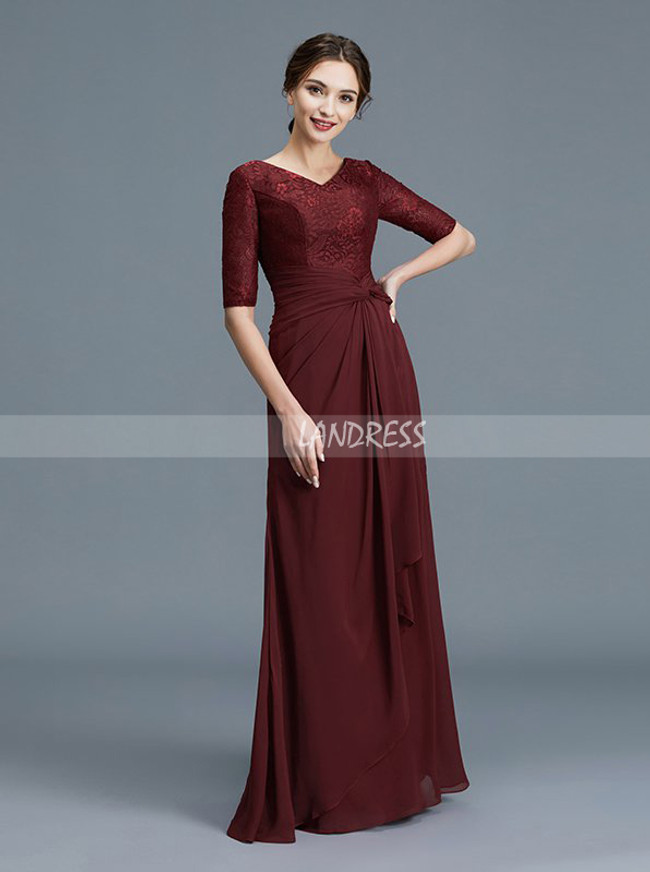 c34d30641a ... Burgundy Mother of the Bride Dress with Sleeves