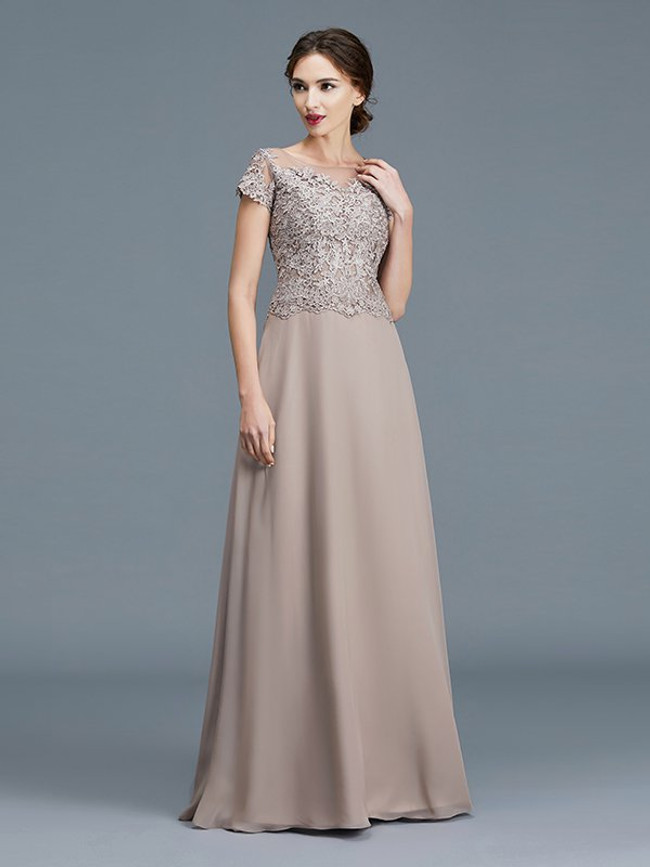 Elegant Mother of the Bride Dress with Sleeves,Chiffon Mother Dress,11792