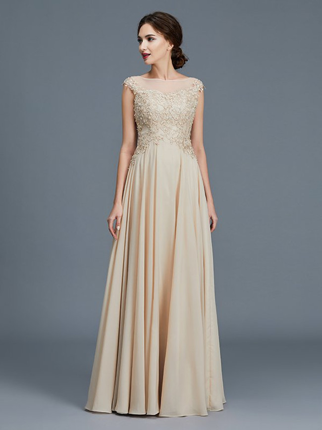 Champagne A-line Mother of the Bride Dresses,Modest Mother Dress,11793