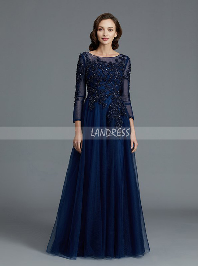Dark Navy Mother of the Bride Dresses,Tulle Mother Dress with Sleeves,11794