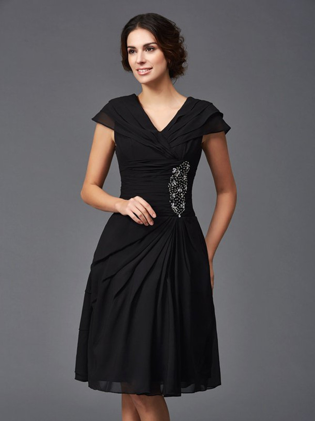 Short Mother of the Bride Dresses,A-line Black Mother Dress,11796