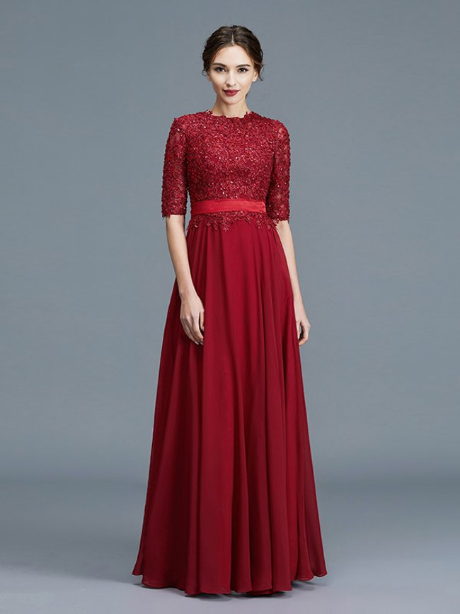 Dark Red Mother of the Bride Dresses,High Neck Mother Dress,11799