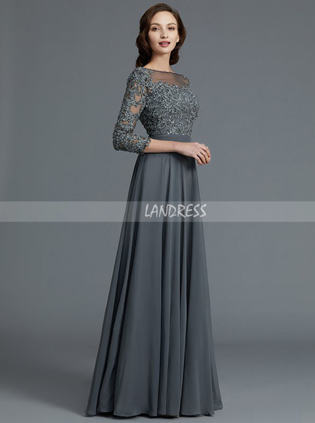 Grey Mother of the Bride Dresses with Sleeves,A-line Mother Dress,11800