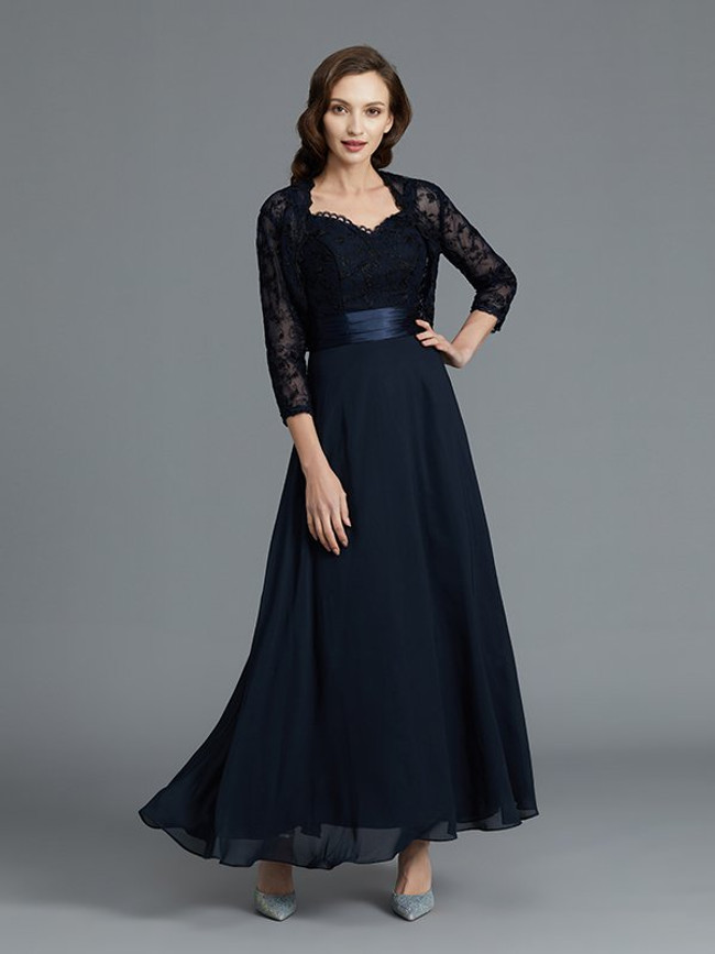 Dark Navy Mother of the Bride Dresses with Jacket,Ankle length Mother Dress,11801