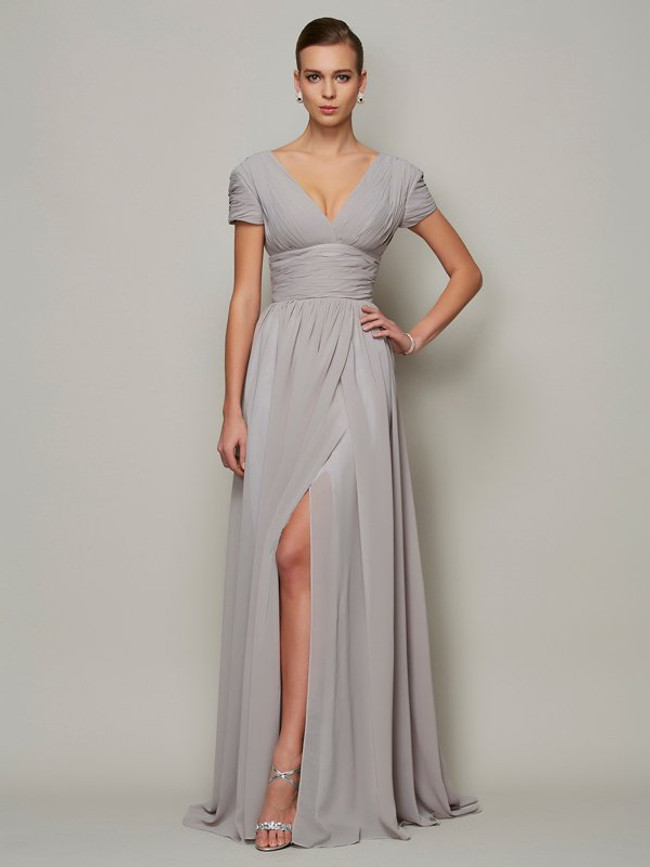 Silver Mother of the Bride Dresses,Mother Evening Dress with Slit,11803