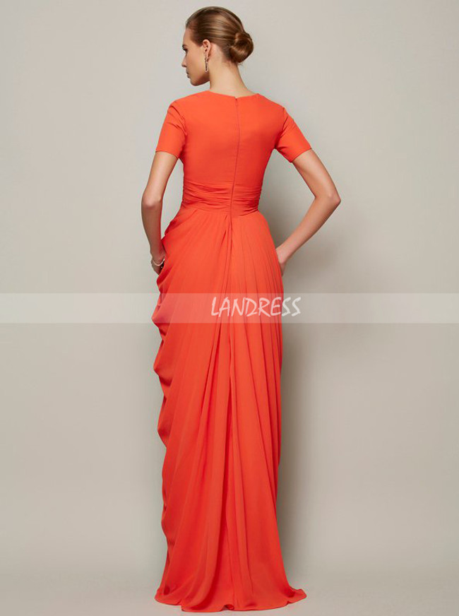 Draped Mother of the Bride Dress with Short Sleeves,Chiffon Long Mother Evening Dress,11804