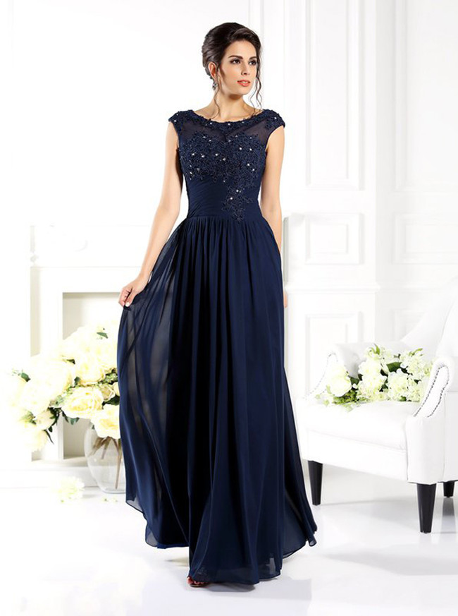 Dark Navy Mother of the Bride Dress,Long Simple Mother Evening Dress,11805