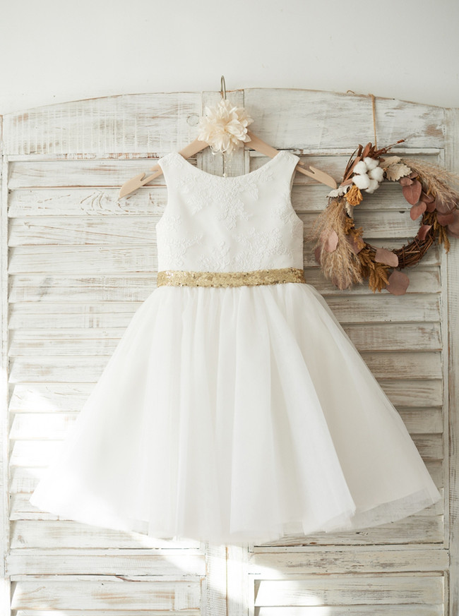 Lovely Flower Girl Dress with Bowknot,Short Girl Party Dress,11806